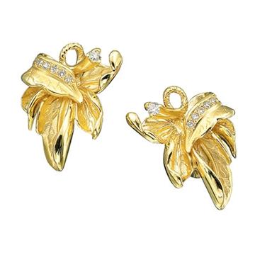 Золотые серьги с бриллиантами из желтого золота С-11025