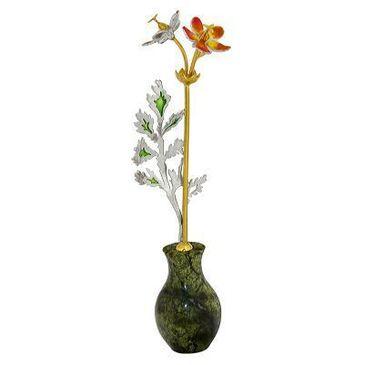сувенир Ваза с цветком c змеевиком из серебра 3642050336