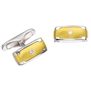Запонки 'ГРАНД' с бриллиантами из желтого и из белого золота Зп-34003