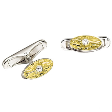 Запонки 'АНТИК' с бриллиантами из белого золота Зп-34004