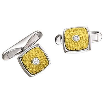 Запонки 'ПЕРС' с бриллиантами из белого золота Зп-34005