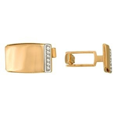 запонки c фианитами из красного золота 1206248014 от EVORA