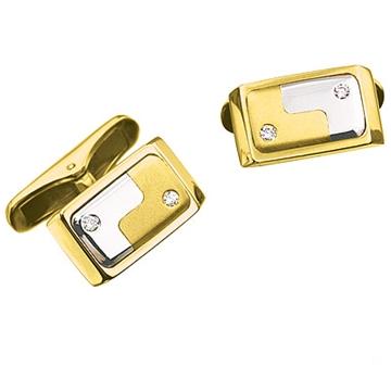 Запонки 'РЕСПЕКТ' с 4 бриллиантами из желтого золота Зп-34006