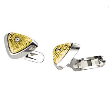 Запонки 'ТРЕХГРАННИК' с бриллиантами из желтого золота Зп-34007