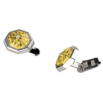 Запонки 'ВОСЬМИГРАННИК' с бриллиантами из желтого золота Зп-34008